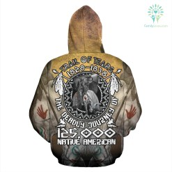 familyloves.com TRAIL OF TEARS 1828-1838 THE DEADLY JOURNEY 125.000 NATIVE AMERICAN HOODIE %tag