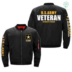 familyloves.com U.S.ARMY VETERAN DEFENDER OF FREEDOM OVER PRINT JACKET %tag