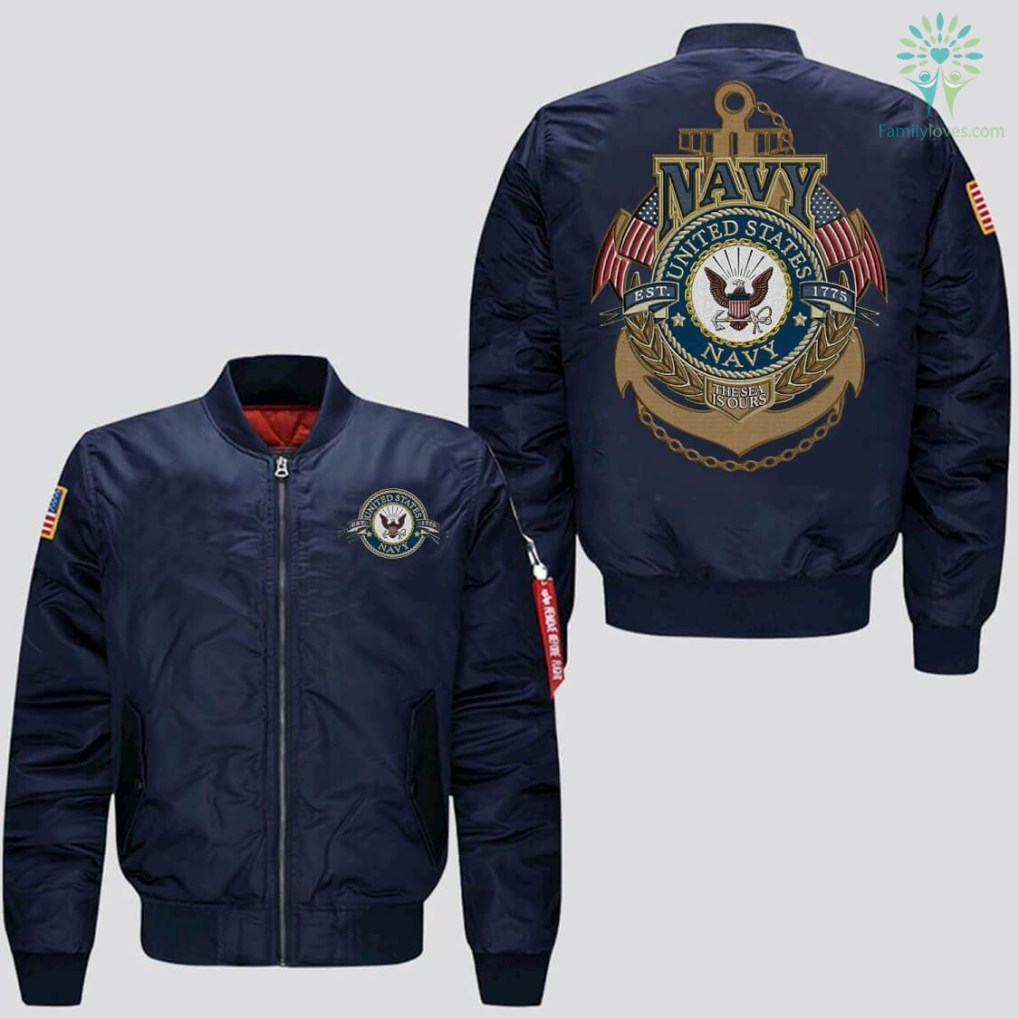 familyloves.com U.S.NAVY EMBROIDERED JACKET, EST 1775,NTHE SEA IS OURS %tag