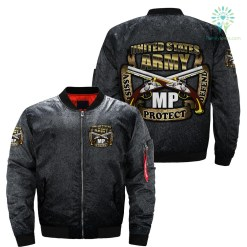 United States army assist protect defend OVER PRINT BOMBER JACKET %tag familyloves.com