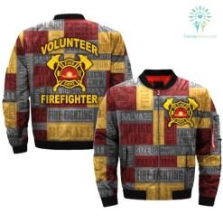 familyloves.com VOLUNTEER FIREFIGHTER-FIRE-DEPT over print Bomber jacket %tag