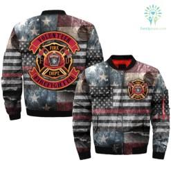familyloves.com VOLUNTEER FIREFIGHTER over print Bomber jacket %tag