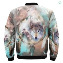 familyloves.com Wolf Dream Catcher over print bomber jacket %tag