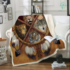familyloves.com Wolf Dreamcatcher Fleece Blanket Native American Plush Throw Blanket D Animal Tribal Lion Tiger Leopard Bears Thin Quilt %tag