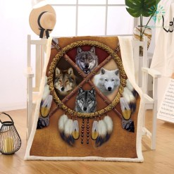 Wolves Dreamcatcher Fleece Blanket Indian Wolf Throw Blanket on the Bed Wild Animal Tribal 150x200 130x150 %tag familyloves.com
