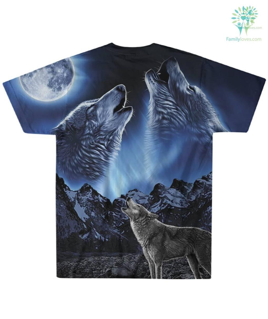 familyloves.com Wolves Howling Moon Over Print T-shirt %tag