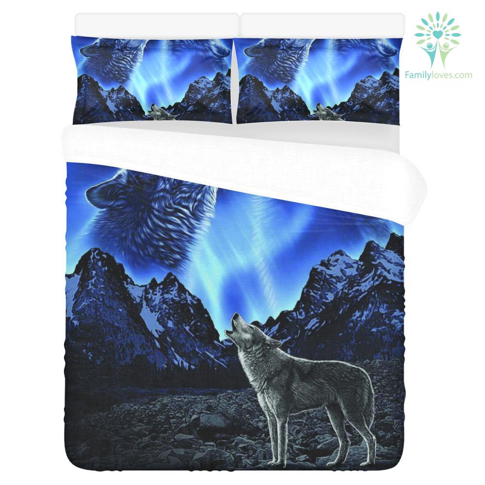 WOLVES HOWLING MOON 3-Piece Bedding Set 1 Duvet Cover 2 Pillowcases %tag familyloves.com