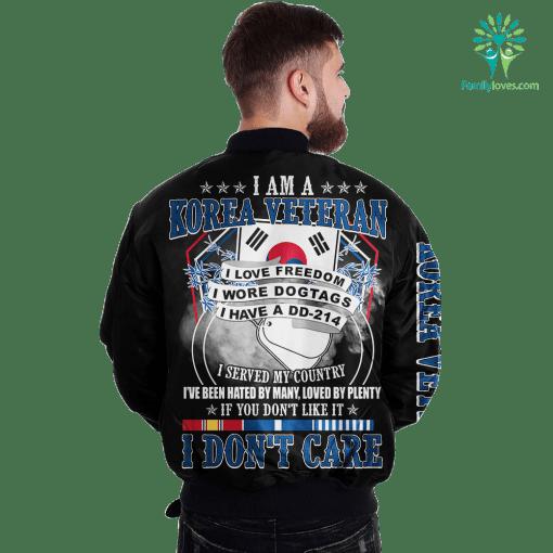 I Am A Korea Veteran I Love Freedom I Wore Dogtages I have A DD-214 Over Print Jacket %tag familyloves.com