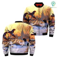 familyloves.com Hunting dog pheasant over print jacket %tag