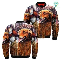 Dog golden hunting over print jacket %tag familyloves.com
