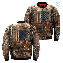 familyloves.com Deer American flag realtree camo Over Print Jacket %tag