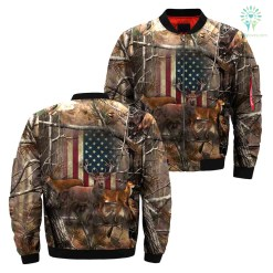 familyloves.com Deer American flag realtree camo Over Print Jacket %tag