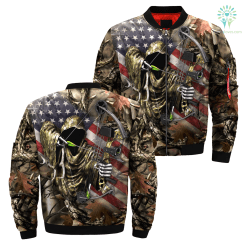 3D All Over Printed American Bowhunting Camo jacket %tag familyloves.com