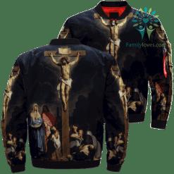 Crucifixion Of Jesus Over Print Jacket %tag familyloves.com