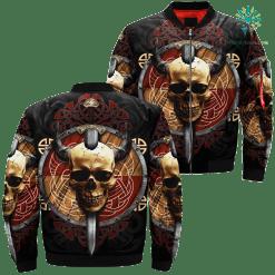 familyloves.com Skull Viking Over Print Jacket %tag