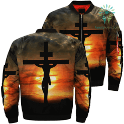 Look At The Cross For Salvation Jesus Over Print Jacket %tag familyloves.com