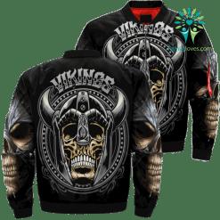 familyloves.com Vikings Skull Over Print Jacket %tag