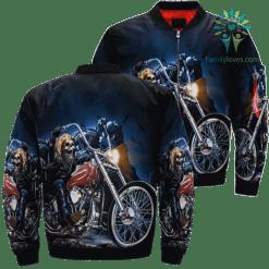 familyloves.com Hell Rider Biker Chopper Skull Over Print Jacket %tag
