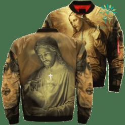 The Sacred Heart Of Jesus Over Print Jacket %tag familyloves.com