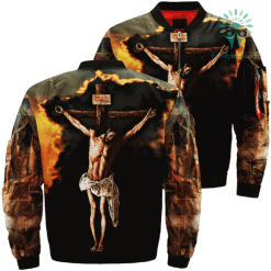 My Saviour My Lord My God Over Print Jacket %tag familyloves.com