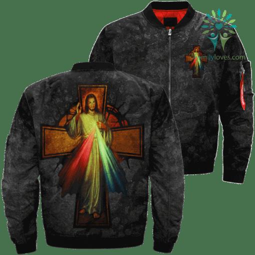 God's Mercy Words Over Print Jacket %tag familyloves.com