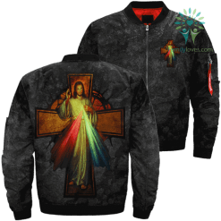 God's Mercy Words Over Print Jacket %tag familyloves.com