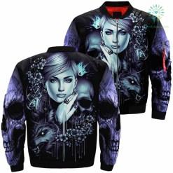 Skull Wolf Girl Over Print Jacket %tag familyloves.com