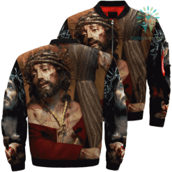 Jesus Christ Comes From Heaven Over Print Jacket %tag familyloves.com