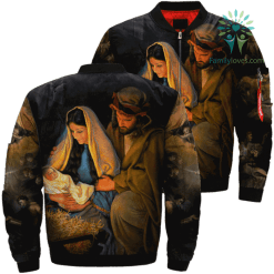 Mary Mother And Jesus Over Print Jacket %tag familyloves.com