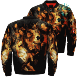Jesus Christ And The Shepherds Over Print Jacket %tag familyloves.com