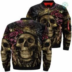 Skull Art Queen Over Print Jacket %tag familyloves.com