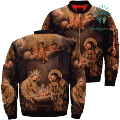 familyloves.com Christmas God Jesus Over Print Jacket %tag