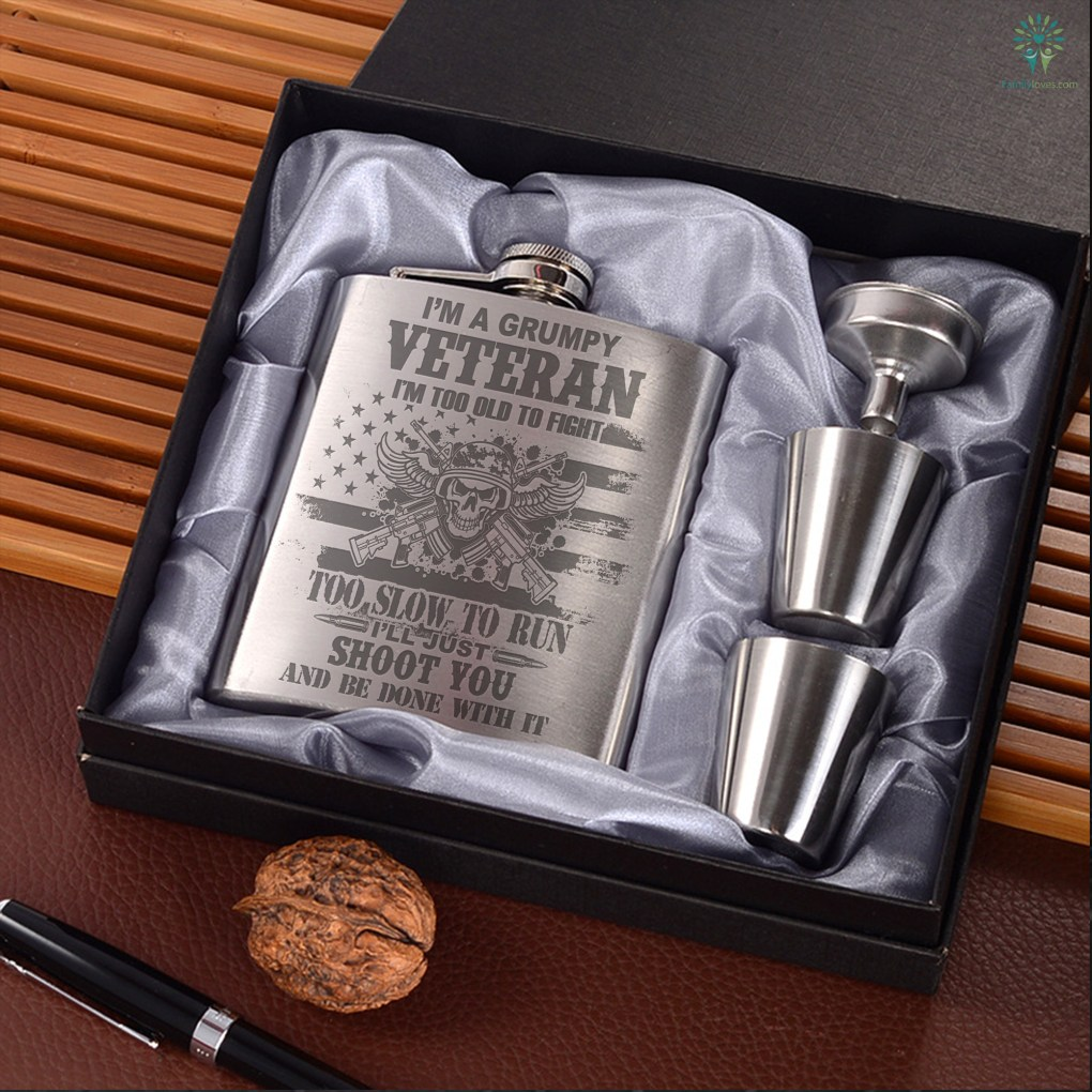 I'm a grumpy veteran I'm too old to fight too slow to run... Portable Stainless Steel Portable Stainless Steel Boxed Laser Engraving %tag familyloves.com