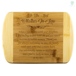 familyloves.com To The Best Mother In Law bamboo cutting board Organically Grown Bamboo %tag