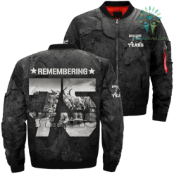 Remembering D-Day 75th Anniversary Over Print Jacket %tag familyloves.com
