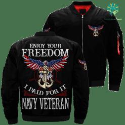 Enjoy your freedom i paid for it navy veteran Over Print Jacket %tag familyloves.com