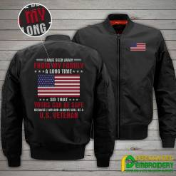 familyloves.com I Have Been Away From My Family A Long Time So That Yours Can Be Safe Because...U.S.Veteran Embroidery Jacket %tag