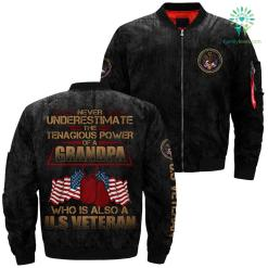 Never Underestimate The Tenagious Power Of A Grandpa Who Is Also A U.s Veteran Over Print Jacket %tag familyloves.com