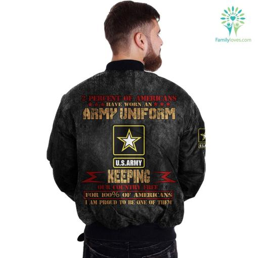2 percent of Americans have worn an Army uniform keeping our country free for 100% of Americans... Over Print Jacket %tag familyloves.com