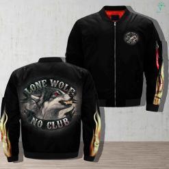 Wolf And Club - Lone Wolf No Club Jacket 100% club gift gifts jacket lone lone wolf lone wolf no club personalized products quality satisfaction service shipping veteran veterans wolf wolf and club wolf no club work %tag familyloves.com