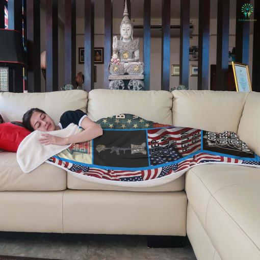 U.S. veterans assistance foundation Sherpa Fleece Blanket %tag familyloves.com