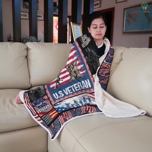 U.S. veterans memorial museum Sherpa Fleece Blanket %tag familyloves.com