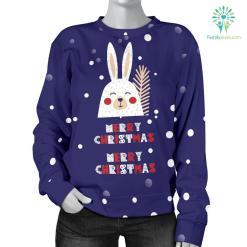 Merry Christmas Bunny Women's Sweater %tag familyloves.com