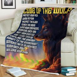 Code Of The Wolf Sherpa Fleece Blanket %tag familyloves.com