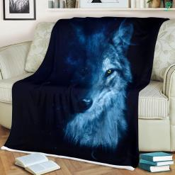 Wolf And Moon Sherpa Fleece Blanket %tag familyloves.com