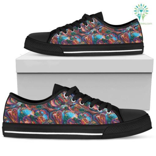 Abstract Oil Paintings P1 - Women's Low Top Shoes (Black) %tag familyloves.com
