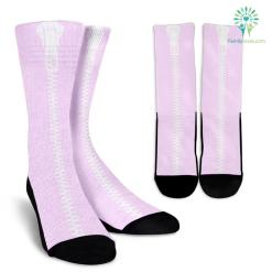 Pink-White-L-001 Crew Socks %tag familyloves.com