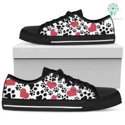 Women`s Low Top Shoes Dog Prints Black %tag familyloves.com