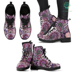 Handcrafted Pink Flower Fractal Mandala Boots %tag familyloves.com