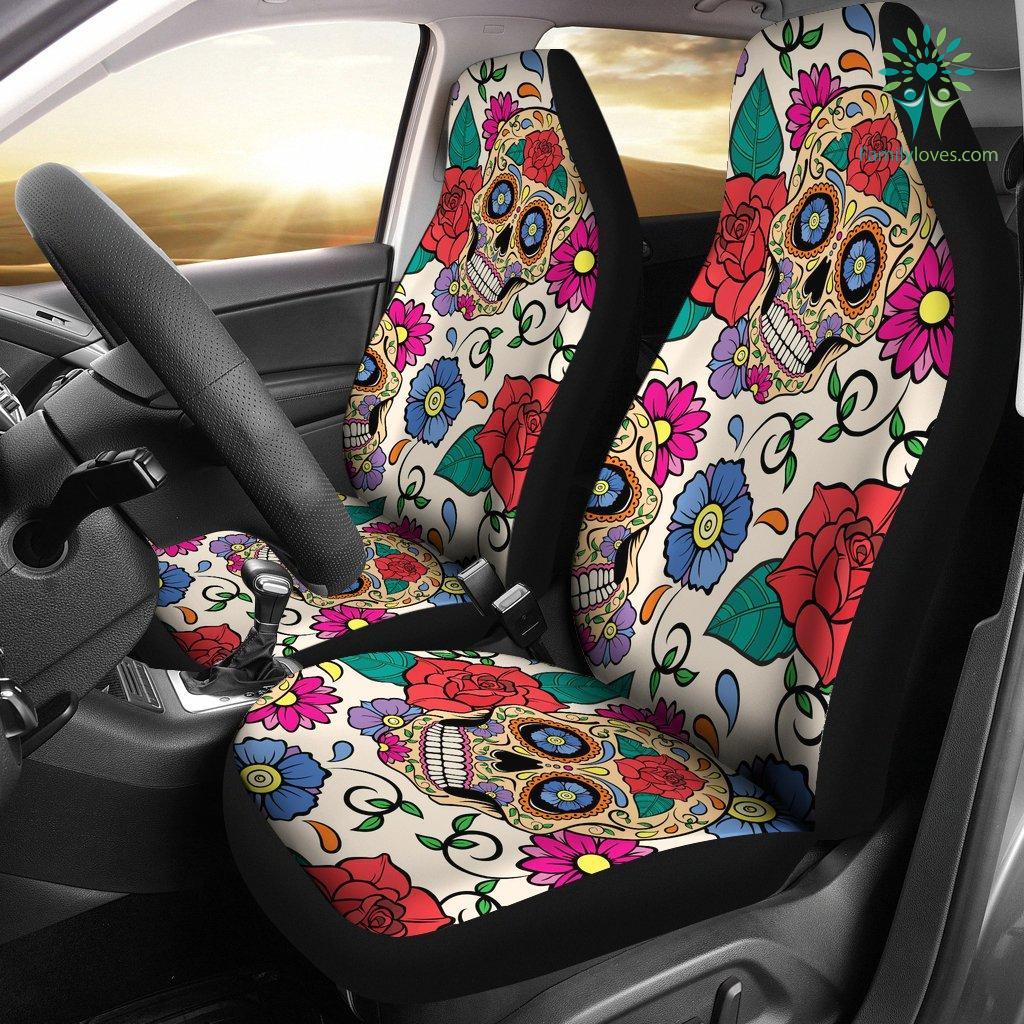 Magnificent Flower Sugar Skull Car Seat Covers Familyloves Com Machost Co Dining Chair Design Ideas Machostcouk